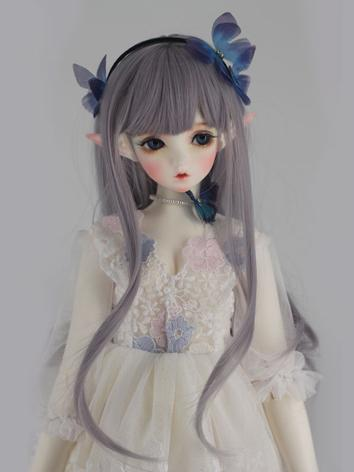 BJD Wig Girl Silver Purple ...