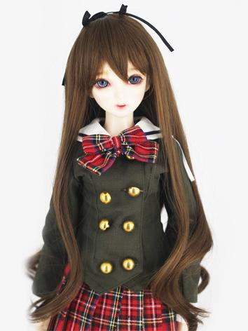 BJD Wig Girl Dark Brown Cur...