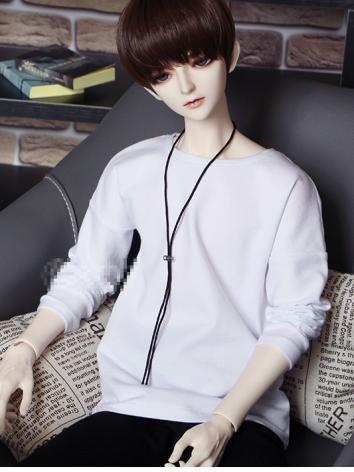BJD Clothes Boy White T-shi...