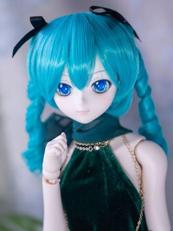 BJD Wig Girl Blue Hair for ...