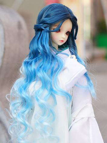 BJD Wig Girl Blue Long Curly Hair Wig for SD/MSD Size Ball-jointed Doll