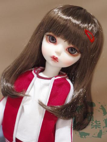 BJD Wig Girl Dark Brown Hair for MSD Size Ball-jointed Doll
