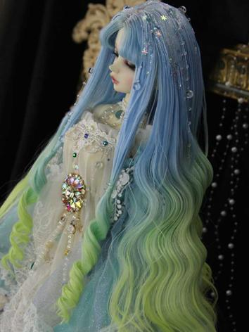 BJD Wig Girl Blue Styled Wig Hair for SD/MSD Size Ball-jointed Doll