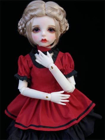 BJD Clothes Outfit Girl Wine Dress One-piece for SD/MSD/YOSD Ball Jointed Doll