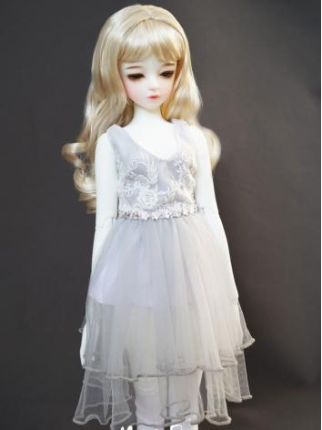 BJD Clothes Outfit Girl Light Gray Dress One-piece for SD/MSD/ Ball Jointed Doll