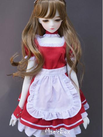 BJD Red Doll Maid Dress Suit Clothes For SD/MSD/YOSD Ball-jointed Doll