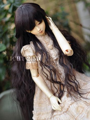 BJD Wig Girl Skyblue/Black Curly Hair [-C1- ] for SD Size Ball-jointed Doll