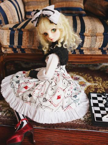 BJD Clothes Girl White Printed Dress for YOSD/MSD/SD Ball-jointed Doll