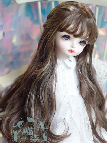 BJD Wig Girl Light Gold/Pink/Brown Curly Hair for SD/MSD/YSD Size Ball-jointed Doll