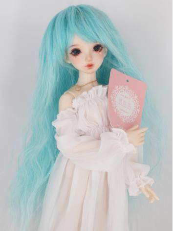 BJD Wig Girl Fairy Blue Cur...