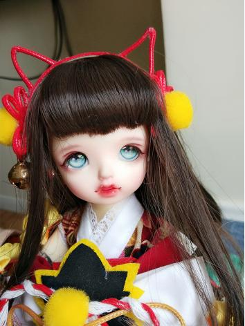 BJD Wig Girl Deep Maroon An...