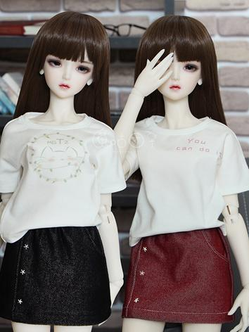BJD Clothes Girl White T-sh...