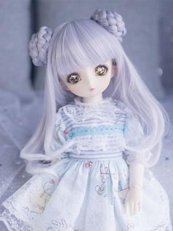 BJD Wig Girl Slight Blue/Br...