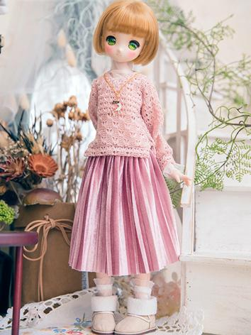 BJD 1/4 Clothes Girl Sweater+Pleater Skirt Set for MSD Ball-jointed Doll