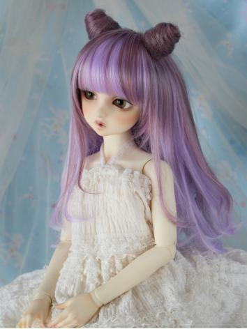 BJD Wig Girl Purple Pink Ha...