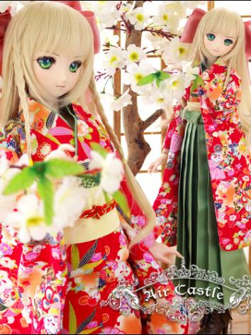 BJD Clothes SD/DD size Red Cherry Girl Kimono Suit Ball-jointed Doll