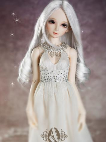 BJD 1/3 Wig Silver-white Fashion Long Curly Hair WG3130801 for SD Size Ball-jointed Doll