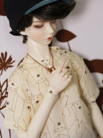 BJD Clothes Boy/Girl Khaki Bear Short-sleeved Top Fit for SD13/SD17 Size Ball-jointed Doll
