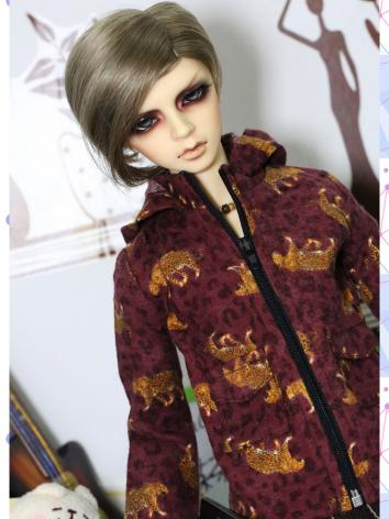 BJD Clothes Boy Dark Red Le...