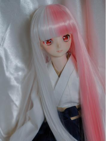 BJD Wig Girl White&Pink Long Straight Hair for SD/MSD/YOSD Size Ball-jointed Doll