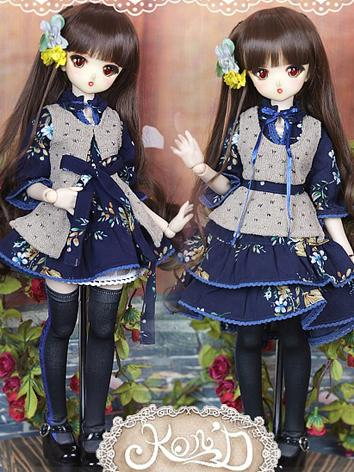 1/4 BJD Clothes Girl Dark Blue Dress Set for MSD/MDD size Ball-jointed Doll
