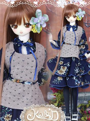 1/3 BJD Clothes Girl Dark Blue Dress Set for SD/DD size Ball-jointed Doll