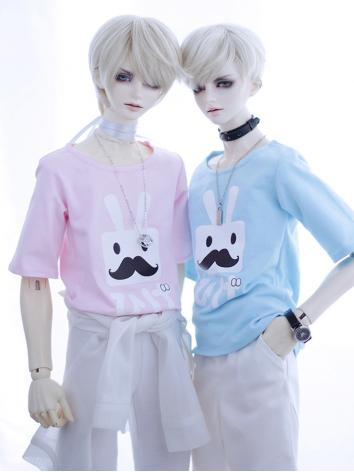 BJD Clothes Pink/Blue T-shi...
