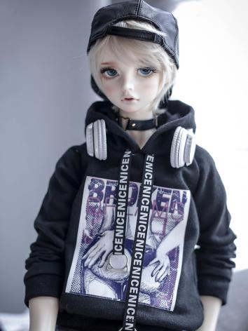 BJD Clothes Black Butt Hooded T-shirt for SD/70CM Ball-jointed Doll