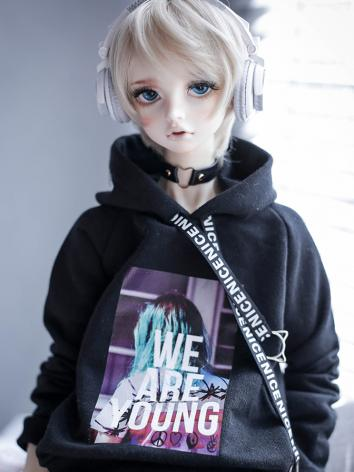 BJD Clothes Black Back Hood...