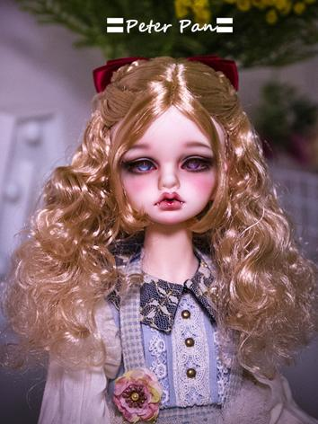 BJD Wig Girl White/Gold Cur...