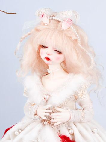 BJD Wig Girl Light Gold Curly Hair Wig for MSD Size Ball-jointed Doll