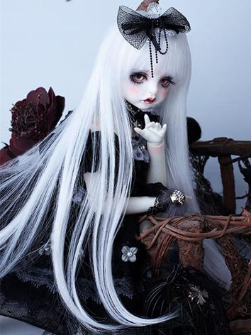 BJD Wig Girl White Straight...