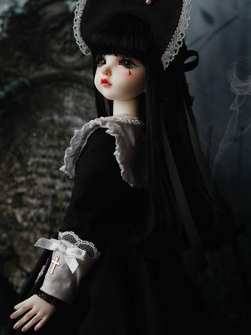 BJD Wig Girl Black Long Str...