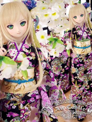 BJD Clothes SD/DD Size Girl Purple Kimono Set Ball-jointed Doll