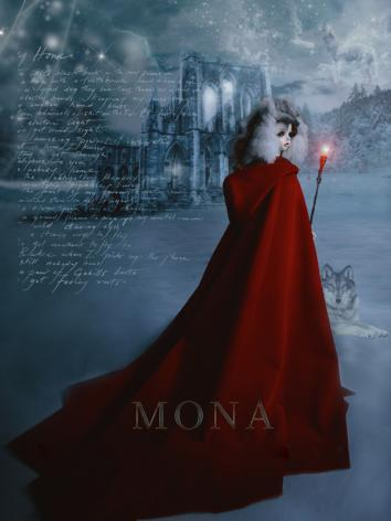 BJD Clothes Mona Red Shawl ...