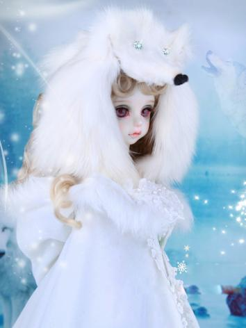 BJD Hat White Leather Wolf ...