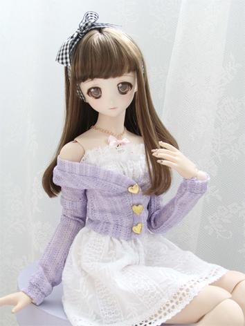 1/3 1/4 Girl Purple Cardigan Coat for SD/DD/MSD Size Ball-jointed Doll