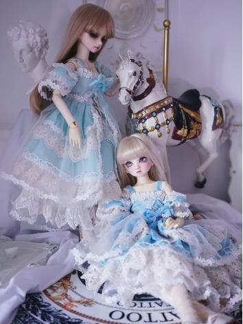 BJD Clothes Girl Blue/Green Trailing Skirt Dress for YOSD/MSD/SD Ball-jointed Doll