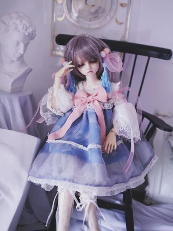 BJD Clothes Girl Blue-pink Korean Style Dress for YOSD/MSD/SD Ball-jointed Doll