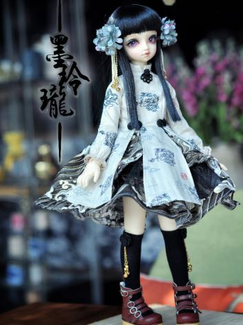 BJD Clothes Chinese Style Dress Black and White  Suit for MSD size Ball-jointed Doll
