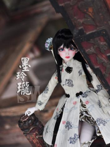 BJD Clothes Chinese Style Dress Black and White Suit for SD size Ball-jointed Doll