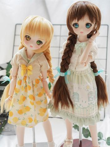 BJD Wig Girl Brown/Yellow Braids Hair for SD Size Ball-jointed Doll