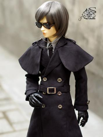 BJD Clothes Boy Black Trench Coat for 70cm/SD/MSD size Ball-jointed Doll