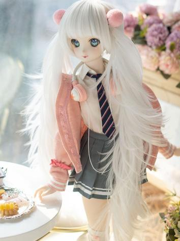 BJD Wig Girl Khaki/White Hair for SD Size Ball-jointed Doll