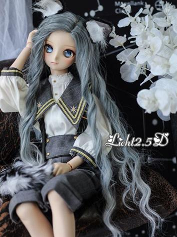 BJD Wig Girl Grayish Blue L...
