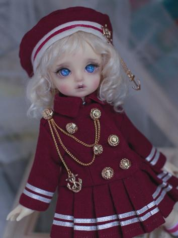 BJD Outfit Girl Set Red Sch...