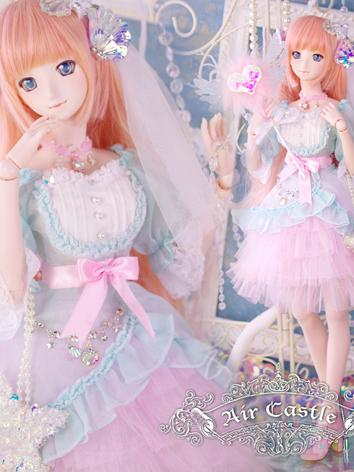 BJD Clothes SD/DD Girl Dress Pink&Blue Dreamy Set for Ball-jointed Doll