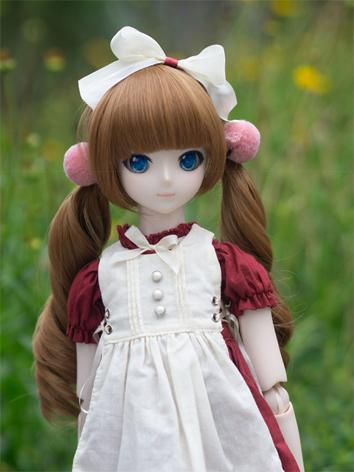 BJD Wig Girl Brown/Gold Curly Hair for MSD Size Ball-jointed Doll