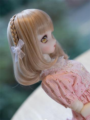 BJD Wig Girl Pink/Gold Shoulder-length Hair for SD/MSD/YOSD Size Ball-jointed Doll