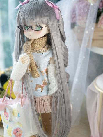 BJD Wig Girl Light Gray Curly Hair for SD Size Ball-jointed Doll